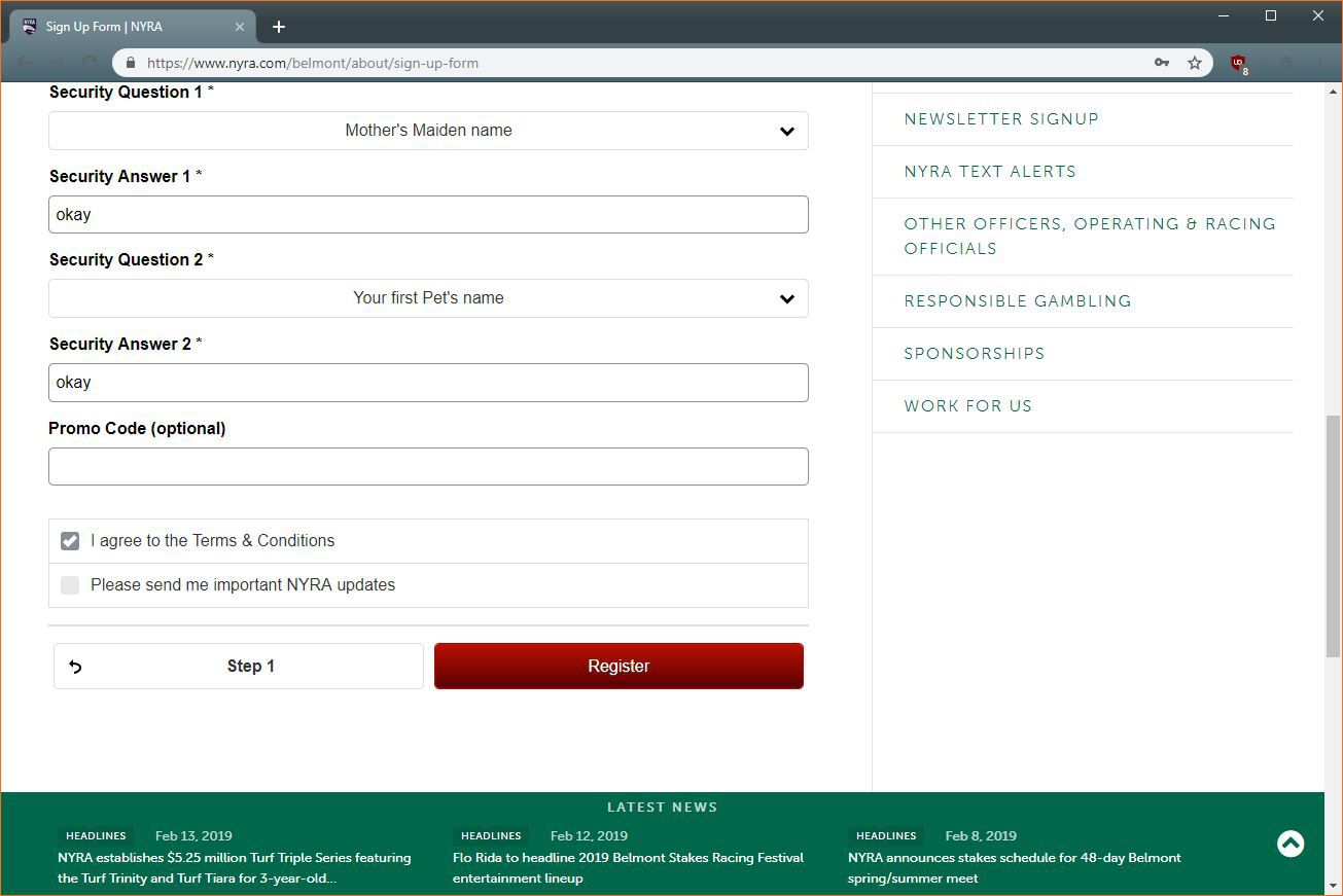 A screenshot of the NYRA signup page.