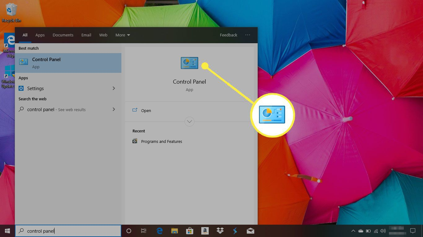 Windows 10 with the Control Panel app highlighted