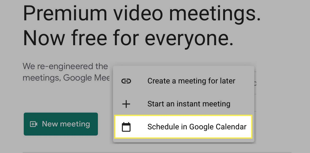 Select Schedule in Google Calendar highlighted.