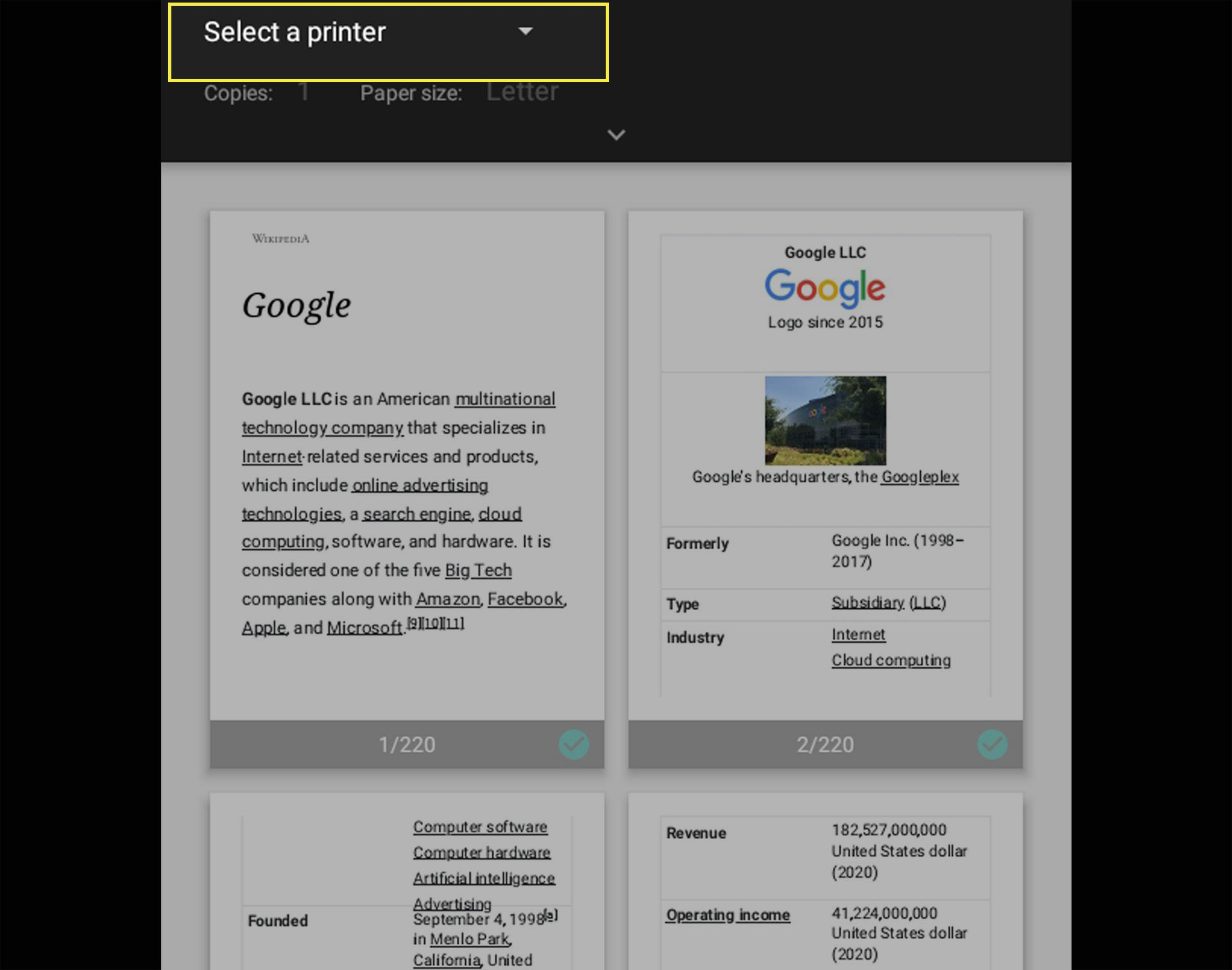 Android printer preview on an Android tablet with Select a Printer highlighted