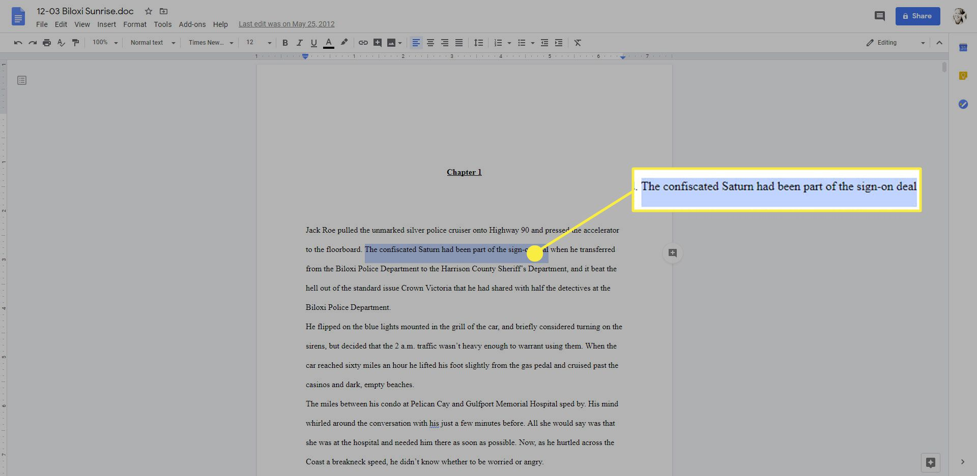 A text selection in Google Docs.