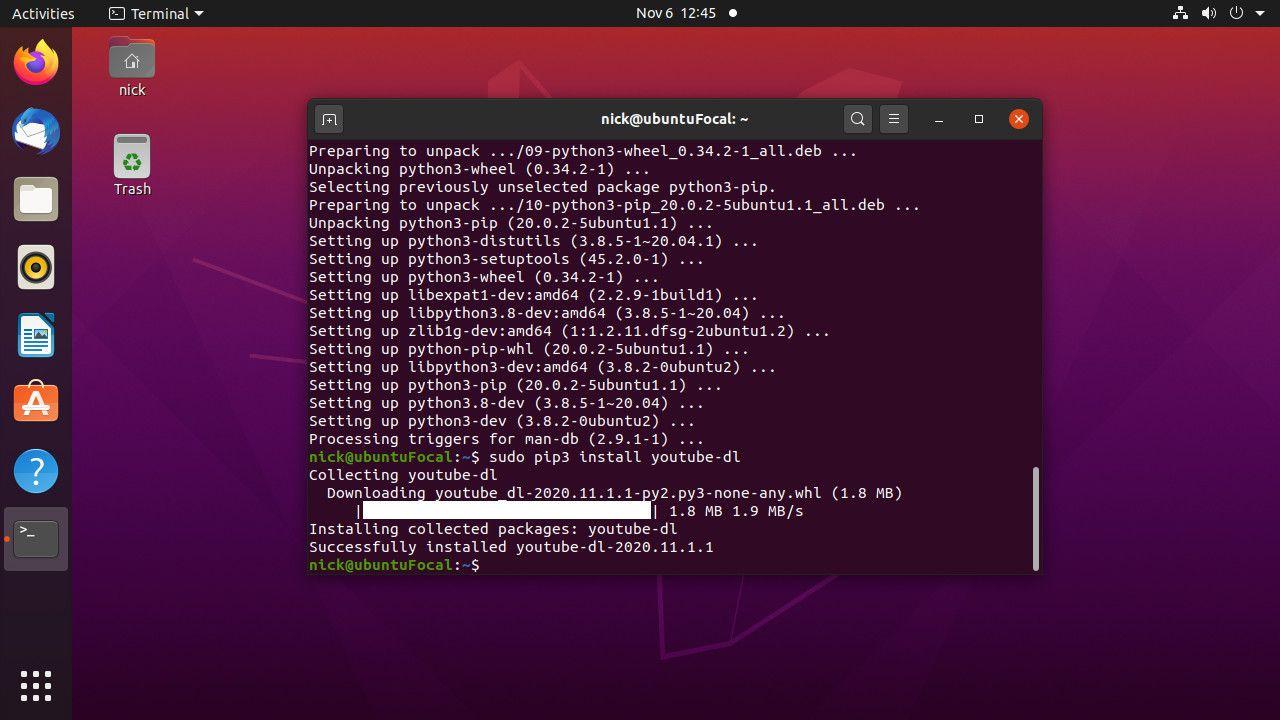 Install youtube-dl with Pip on Ubuntu