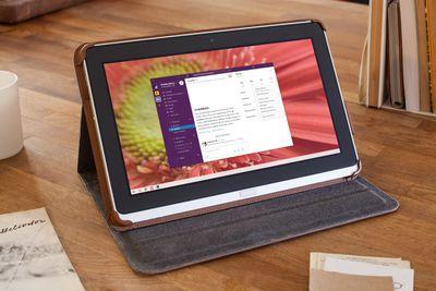 Slack displayed on a Windows tablet computer.