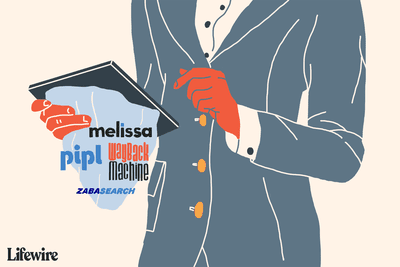 Illustration of a person using a tablet to use melissa, pipl, waybackmachine, zabasearch