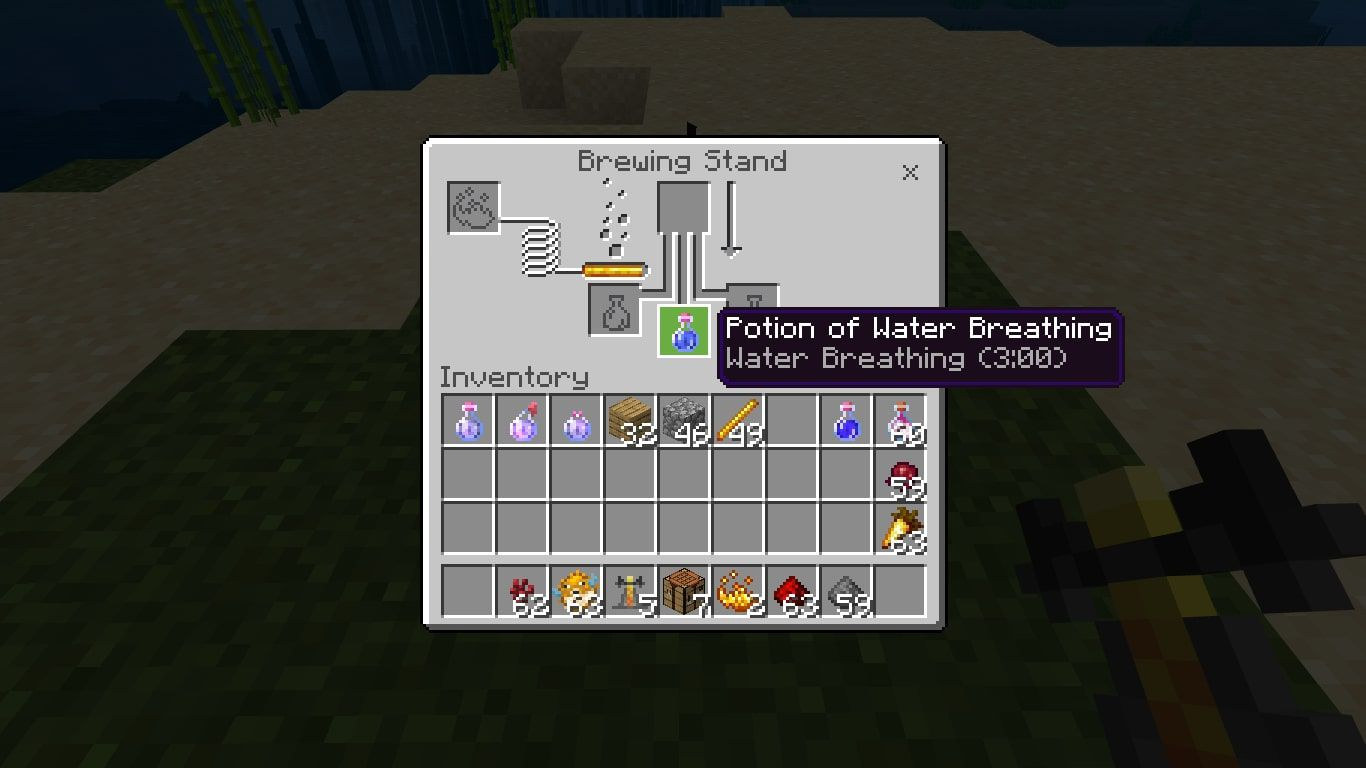 Water breathing potion in Minecraft