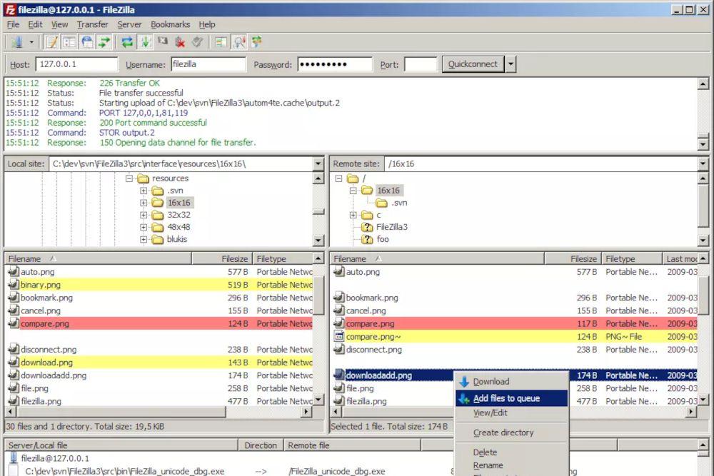 An image of the Filezilla FTP server software main interface