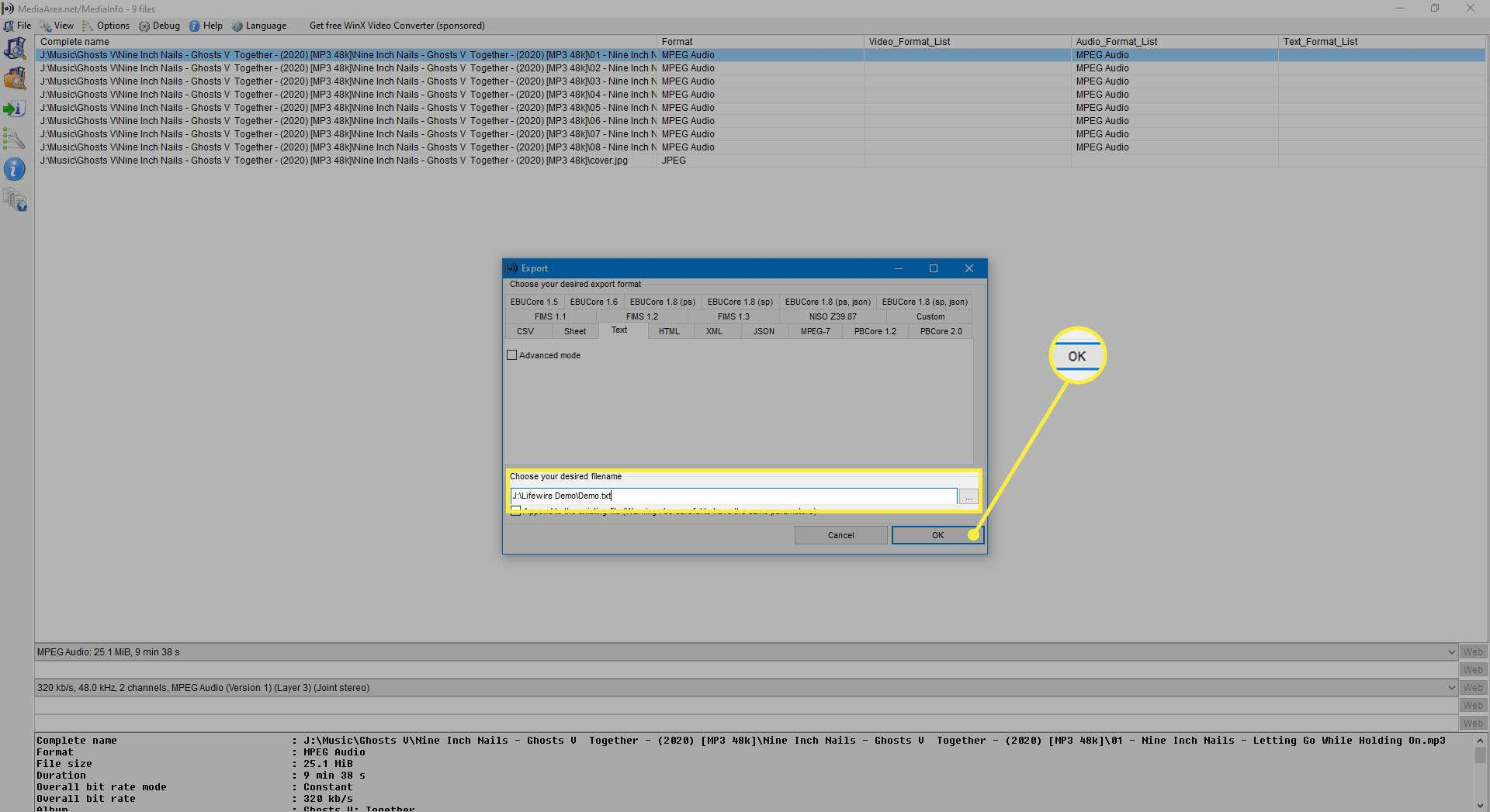 Selecting a path to save file and filename.