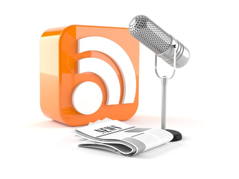 RSS feed icon with newspaper and microphone