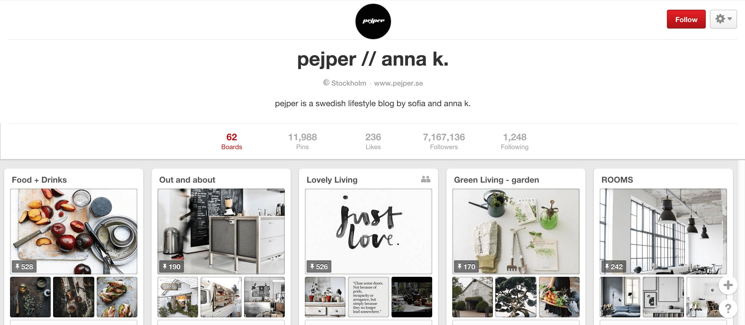 Pejper Pinterest board