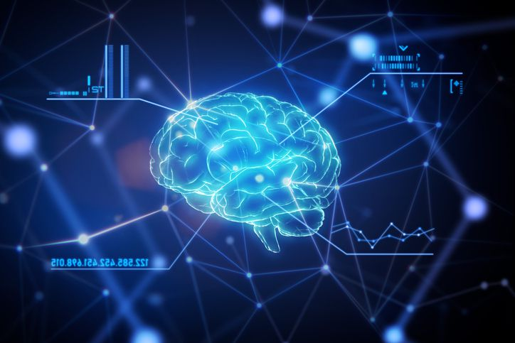 Close up of artificial intelligence brain with a futuristic graphical user interface in network connection space.