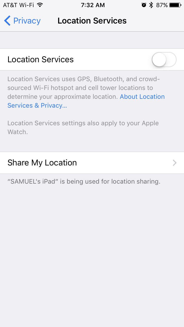 location services screen on iPhone