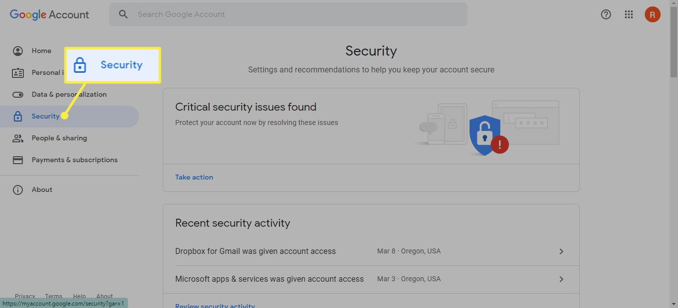 Security tab in Google Account Manager