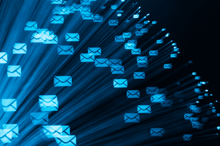 Image of emails flying through space
