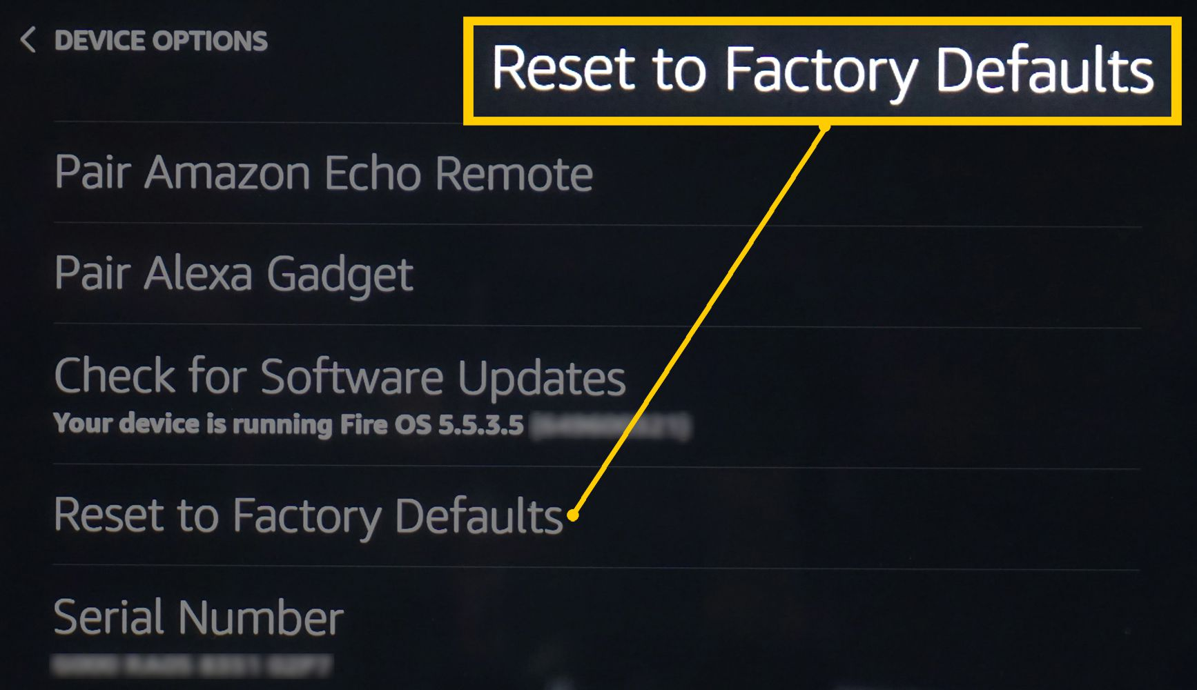 Echo Show – Device Options Menu – Select Reset to Factory Defaults