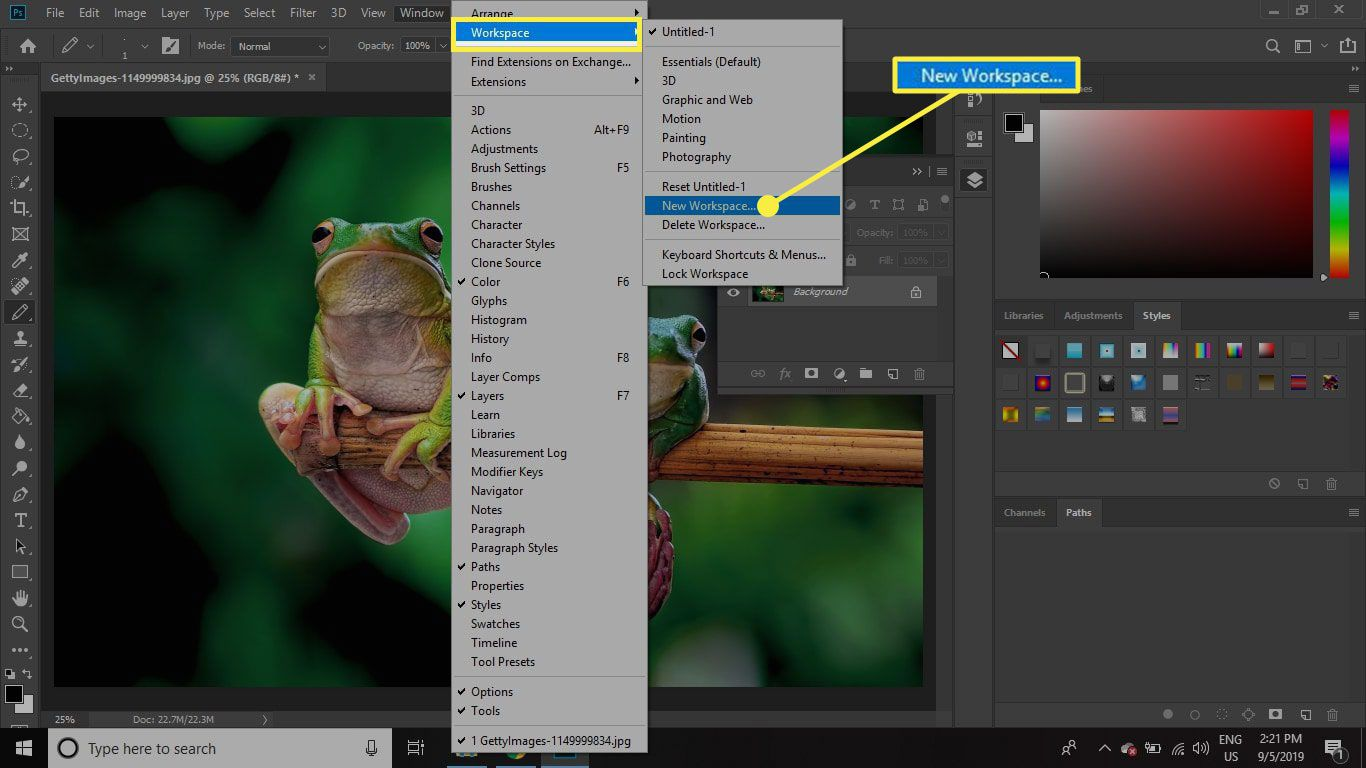 A screenshot of Photoshop with the New Workspace command highlighted
