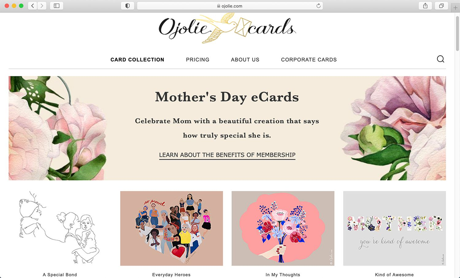 Ojolie e-card site for Mother's Day and other holidays