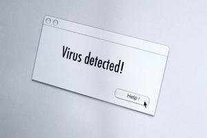 Virus warning on computer screen