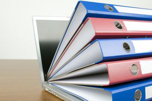 Ring binders and laptop