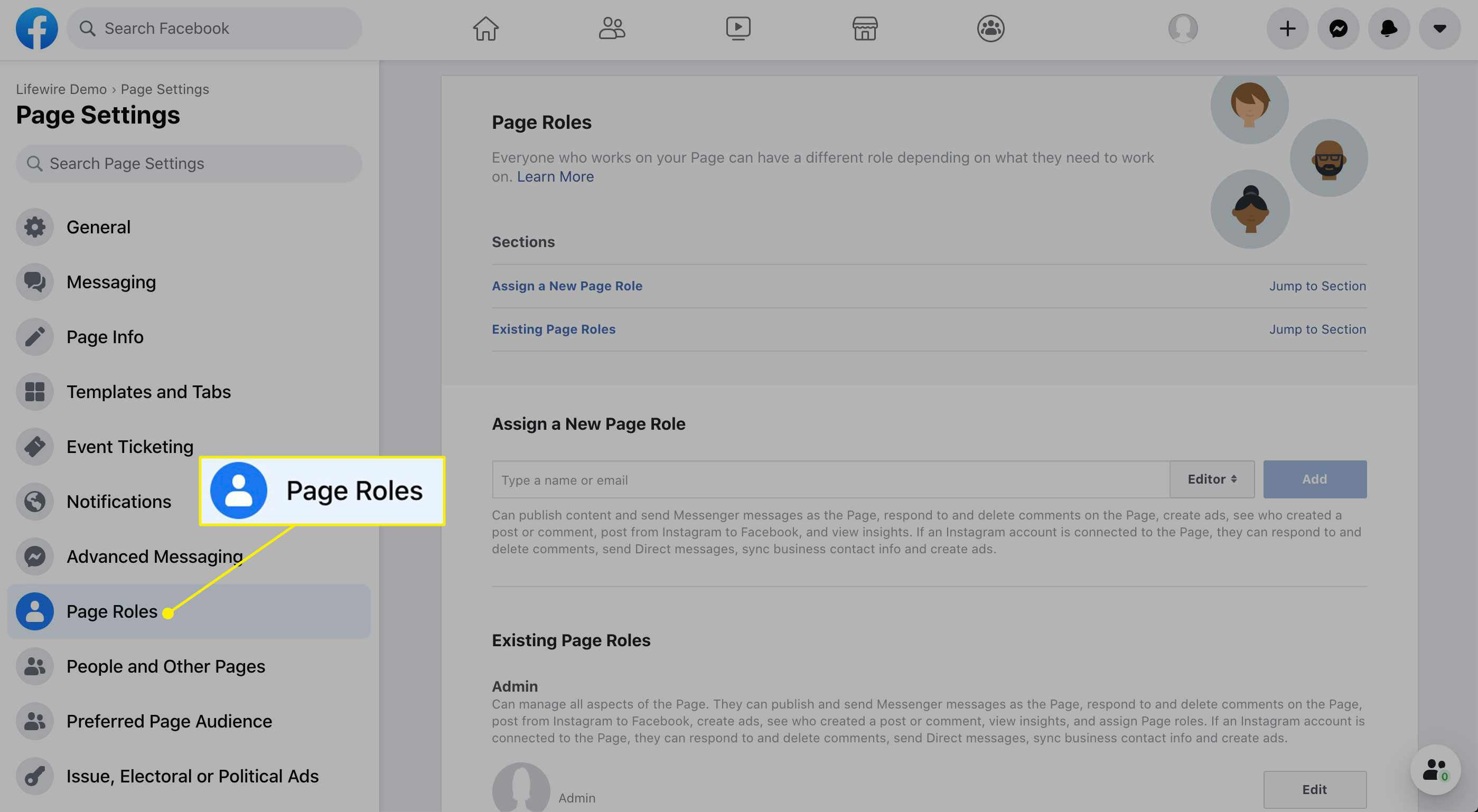 Page Roles in Page Settings
