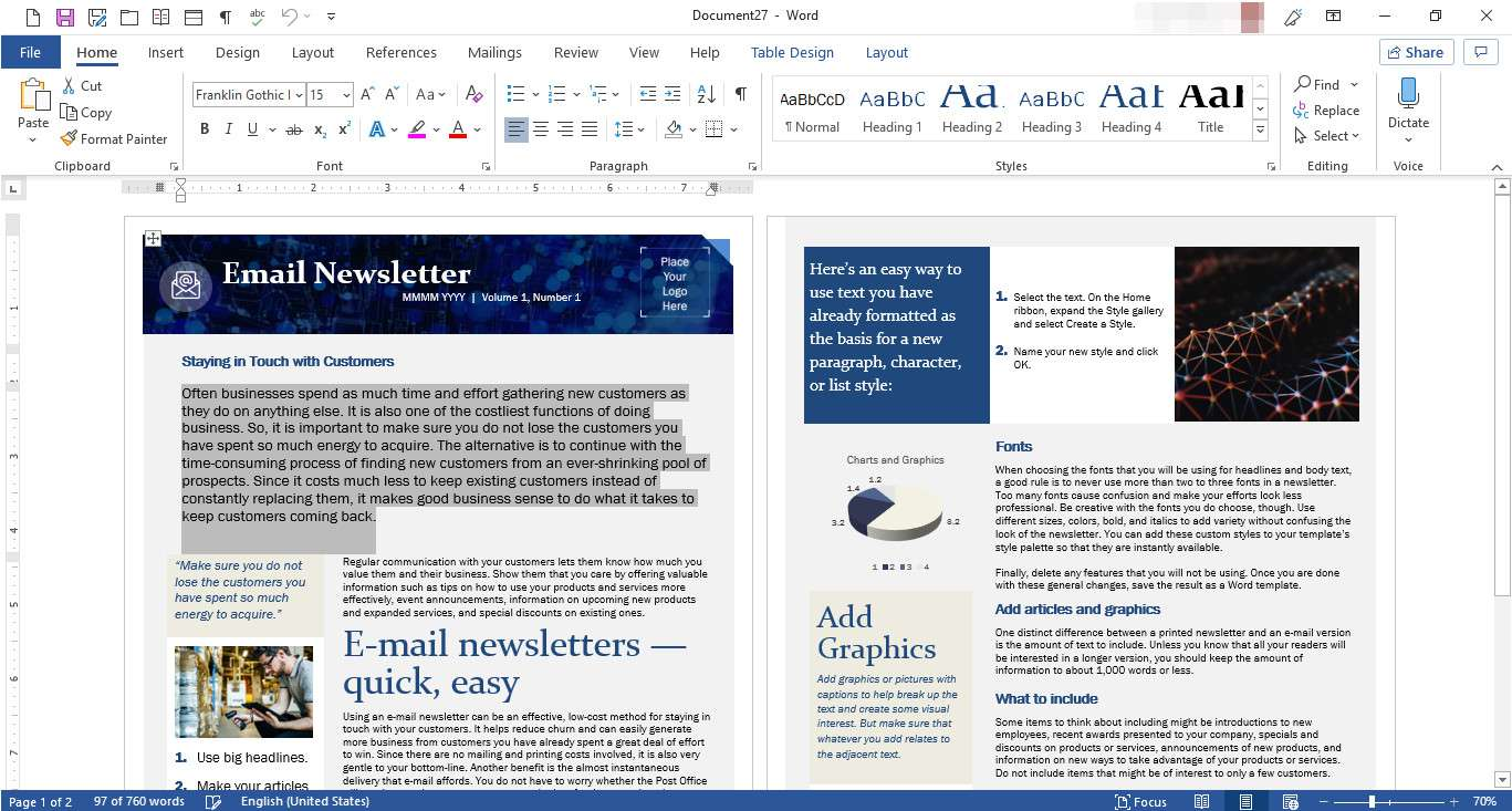MS Word with newsletter template displayed