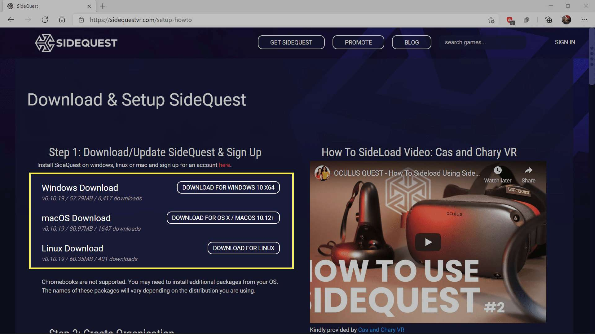 The SideQuest download page with download options highlighted