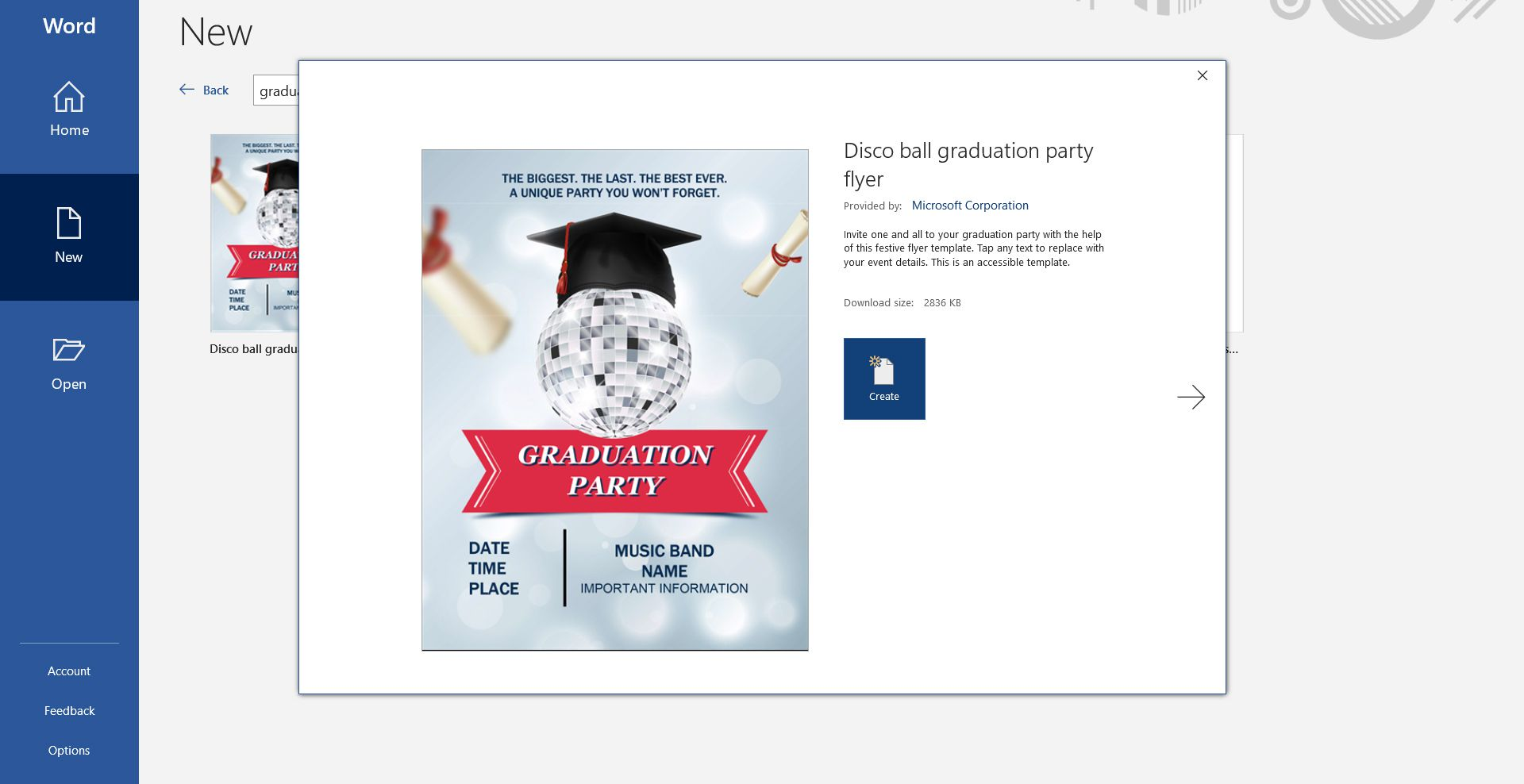 Disco ball-themed graduation party invitation template for Microsoft Word
