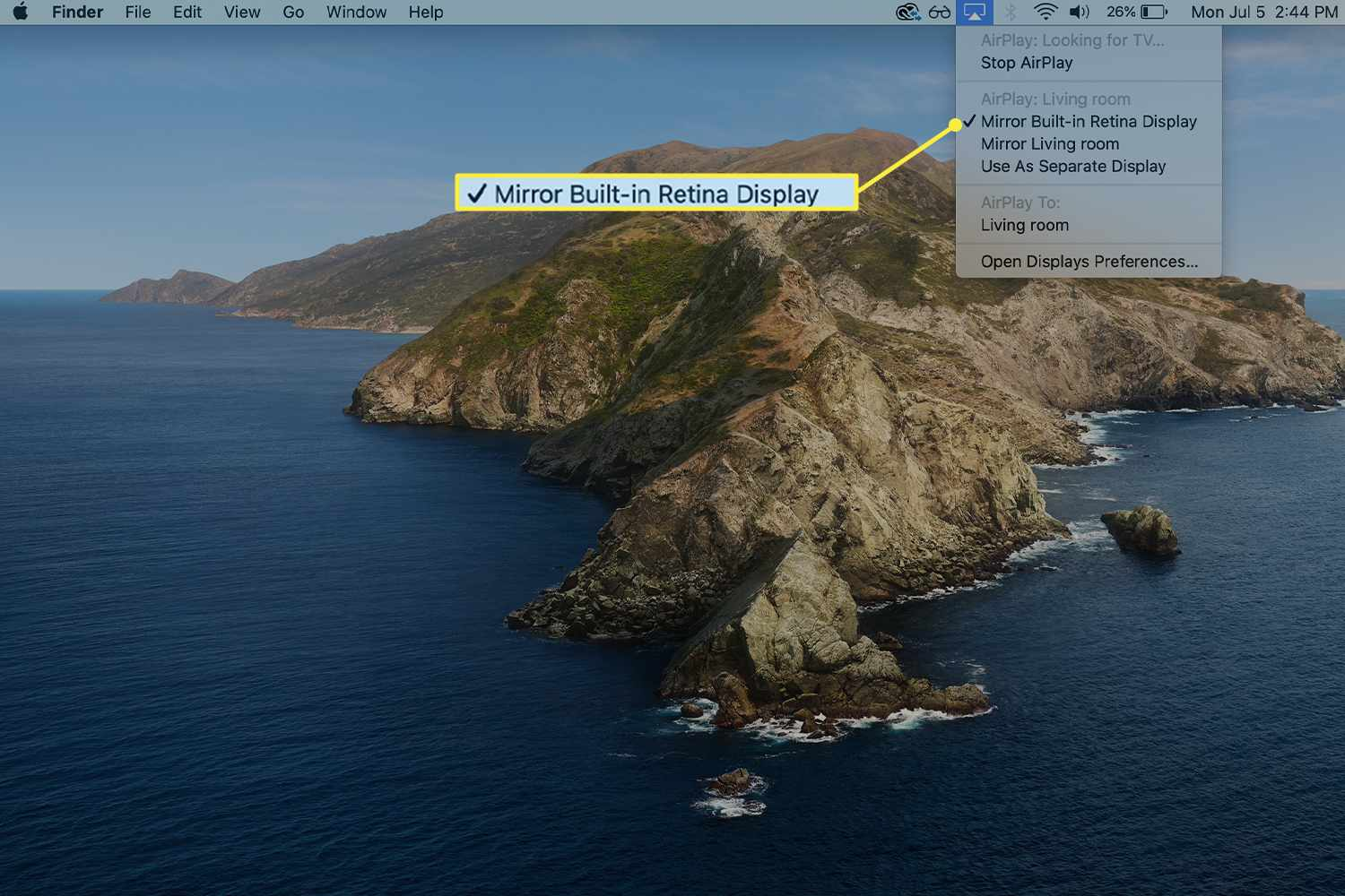The option to match a Mac's built-in display size while mirroring highlighted from the AirPlay drop-down menu on a Mac.