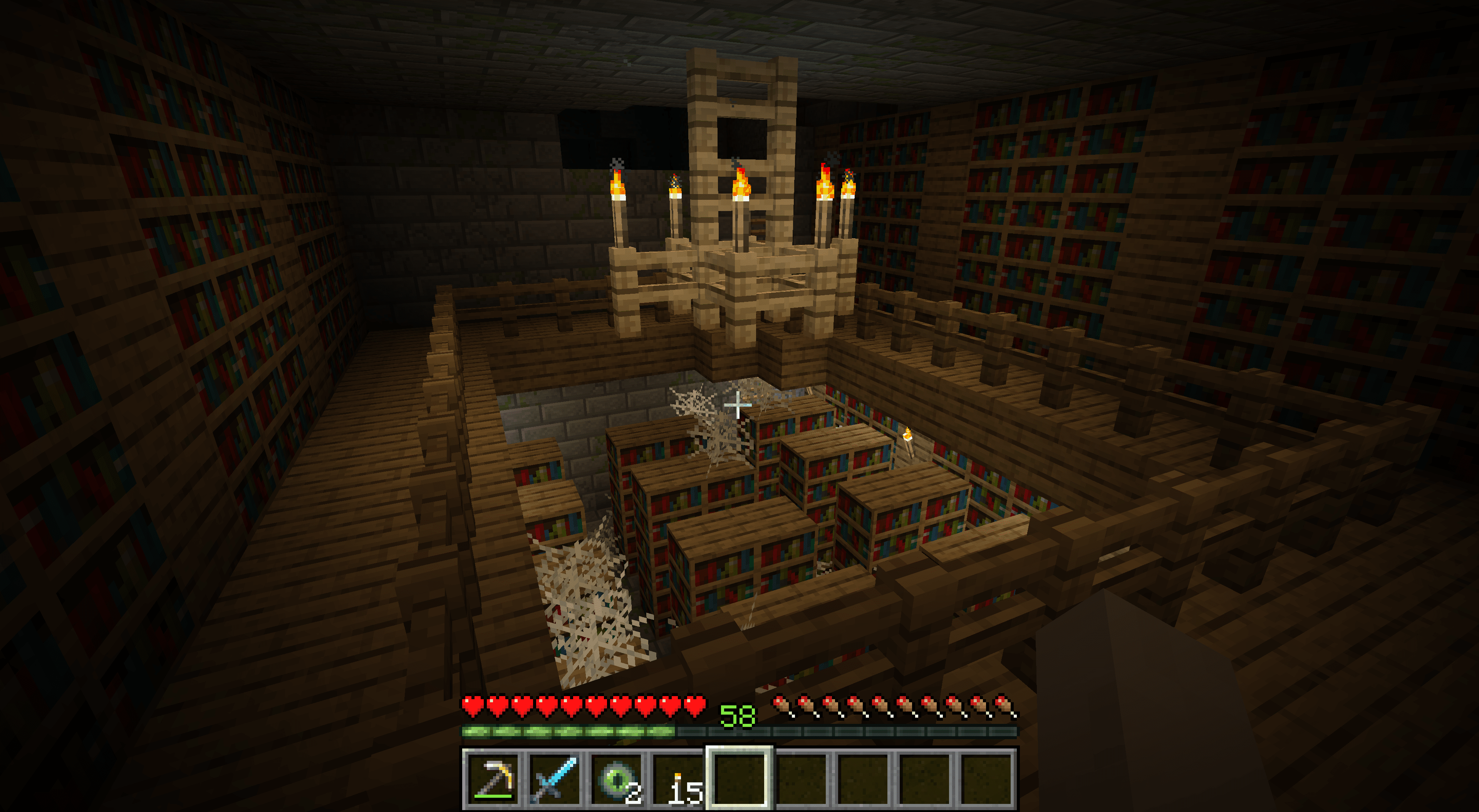 A library in a Stronghold in Minecraft.