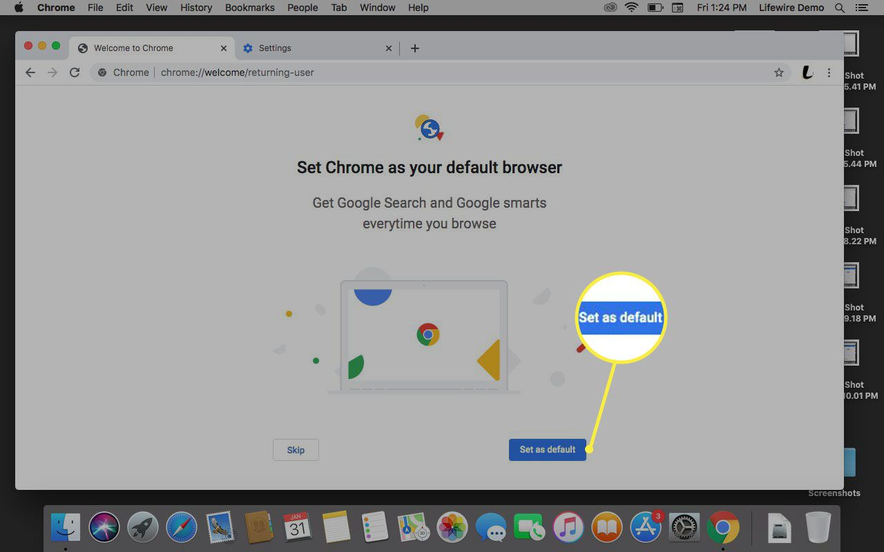 Google prompting to set Chrome as default.