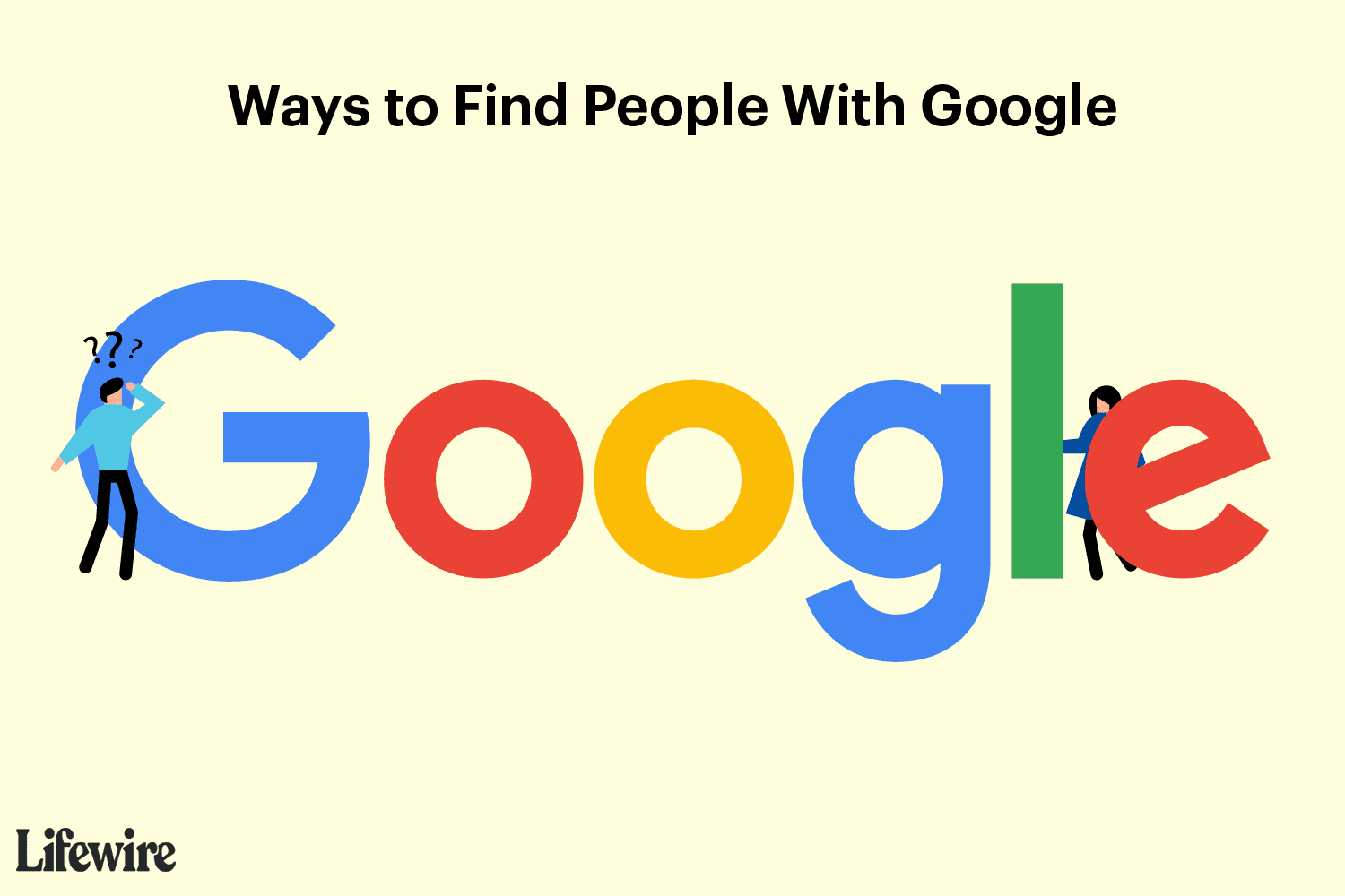 An illustration of someone searching for a person using Google.