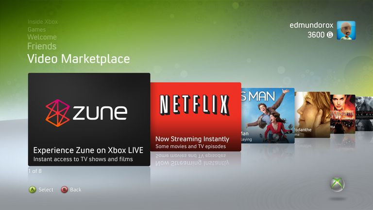 Screenshot of the Xbox video marketplace