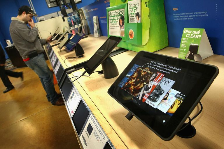 Tablet computers are offered for sale at a Tiger Direct store on April 11, 2013 in Chicago, Illinois.