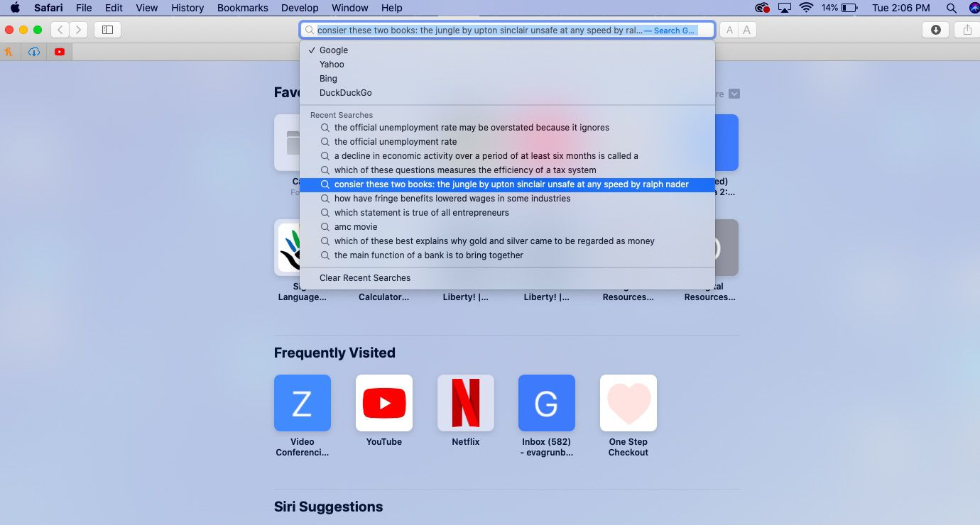 Safari's Smart Search field, letting users choose an alternate search engine or repeat an old search