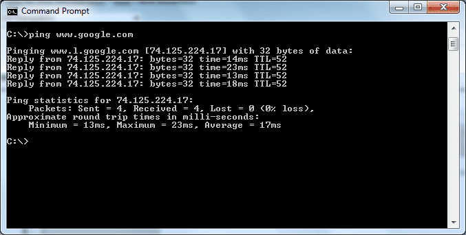 screenshot of a Command Prompt showing the computer ping test