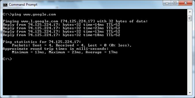 screenshot of a Command Prompt