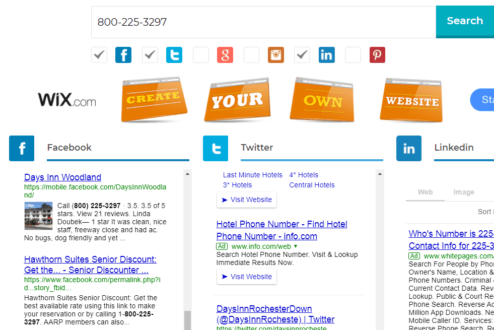 Google Social Search for an 800 number