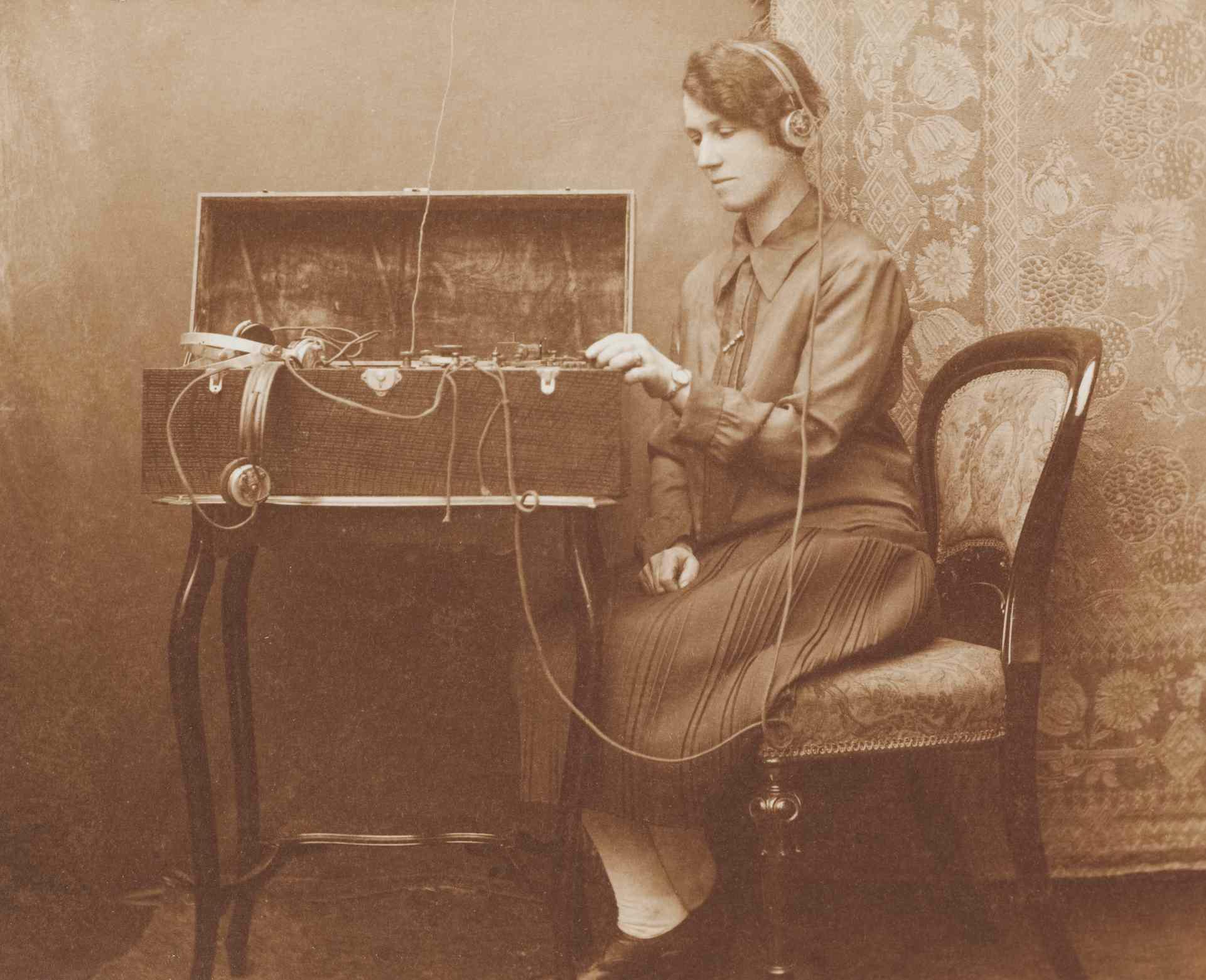 A wartime photo of a Morse code communicator.