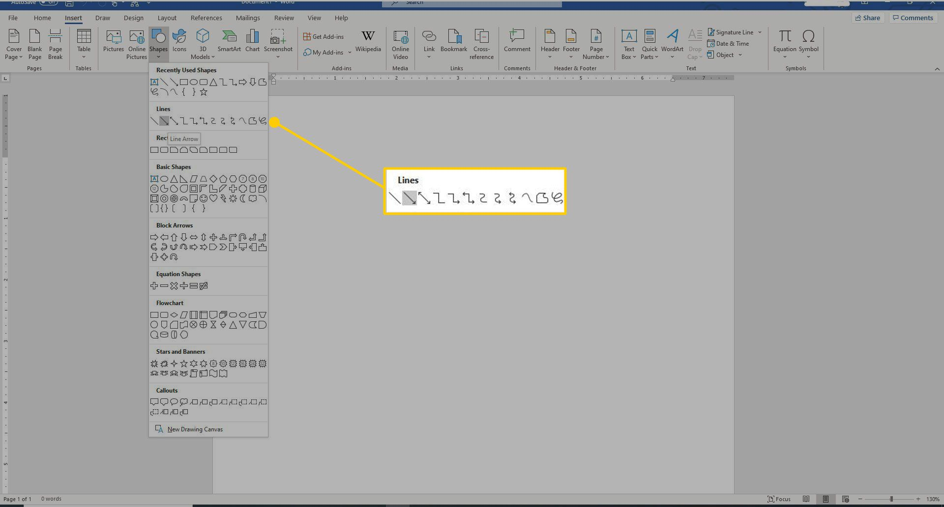 Word's Shapes menu with the Lines section highlighted