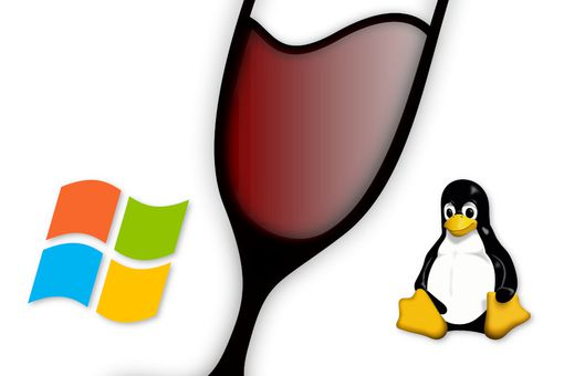 Image of the Windows, WINE, and Linux logos.