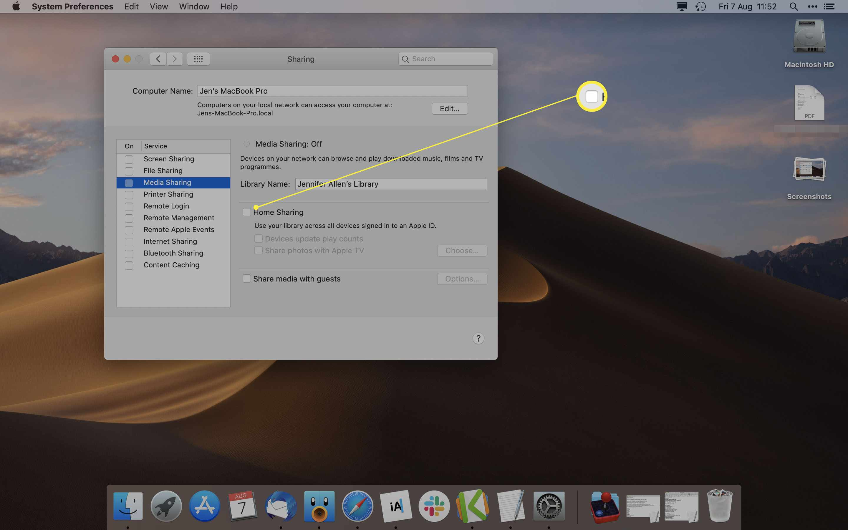 Mac System Preferences with Media Sharing highlighted