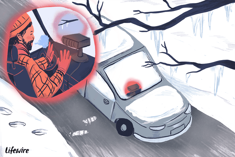Illustration of a car heater warming up a person's hands and defrosting a windshield