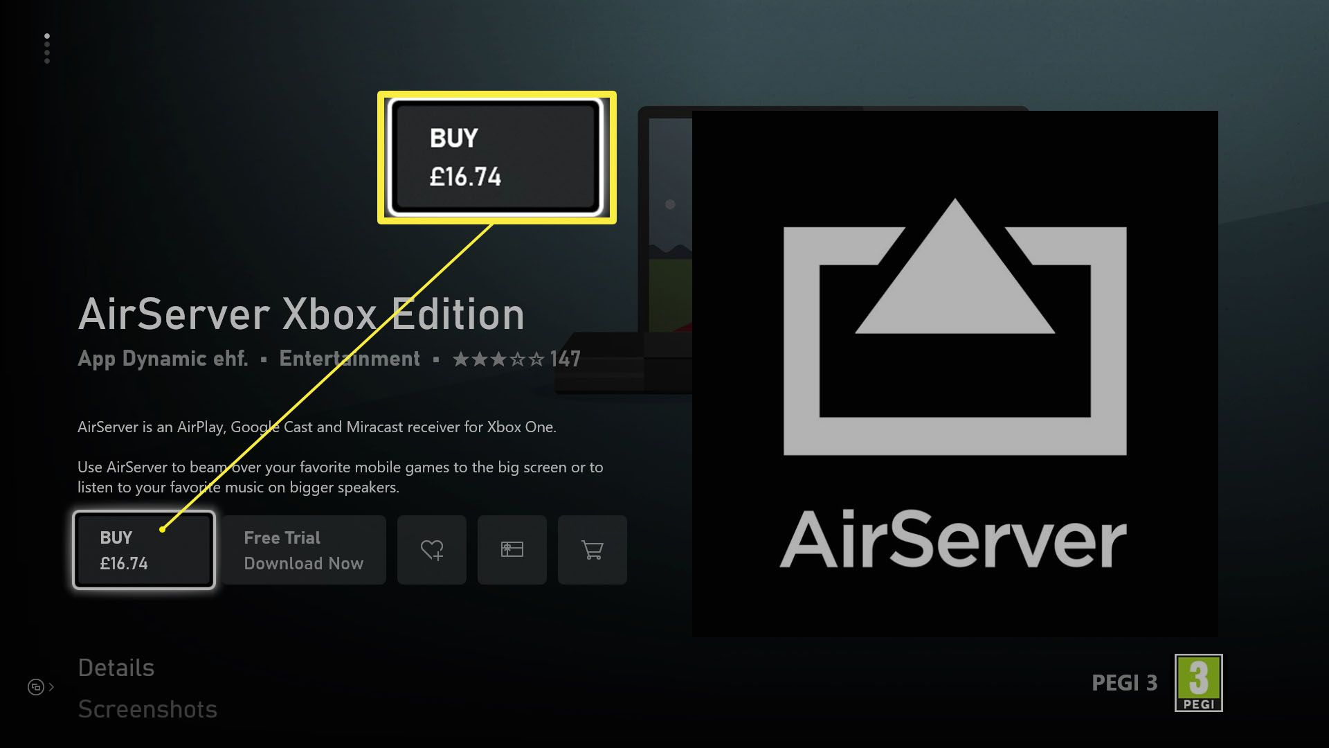 Xbox Series X/S store with a paid app displayed and the buy button highlighted