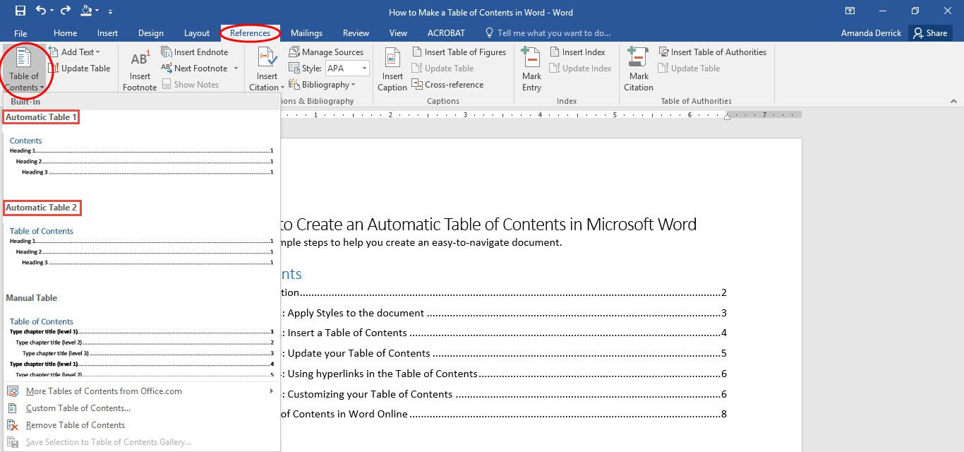 manual table of contents word 2007