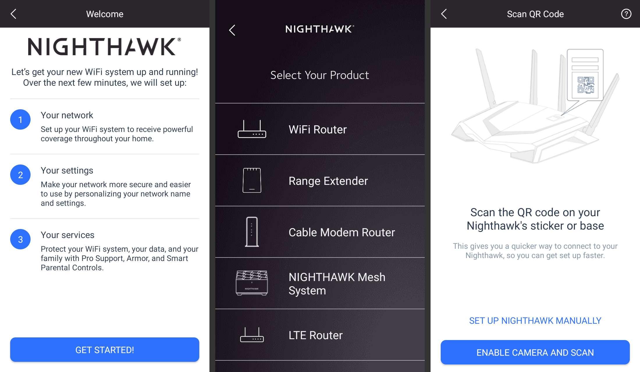 Near Nighthawk app set up screens