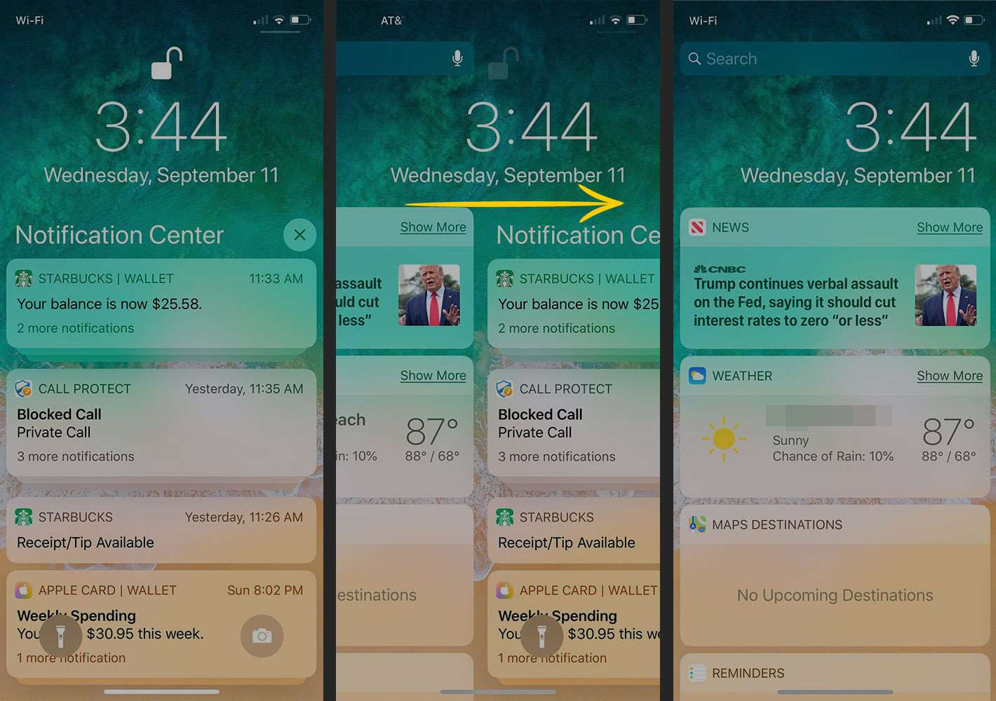 Swiping on Notification Center to open Today view