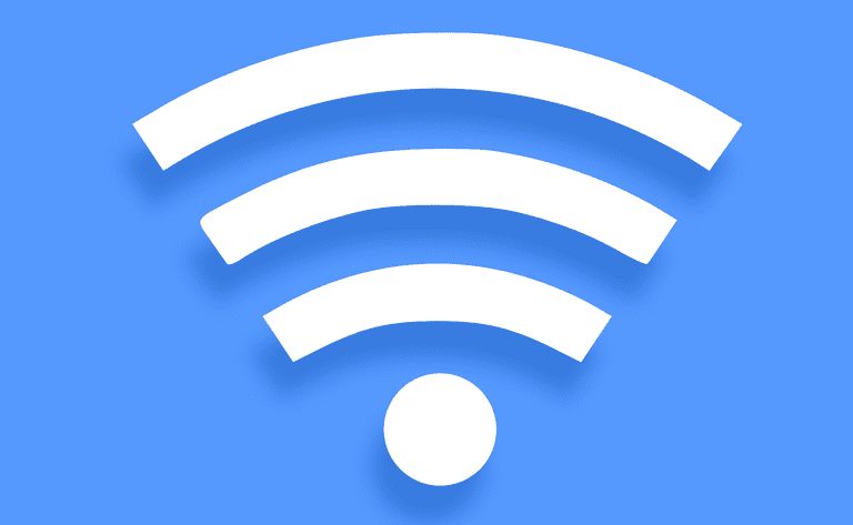 An image of the Wi-Fi symbol with a dot and four waves coming from the dot