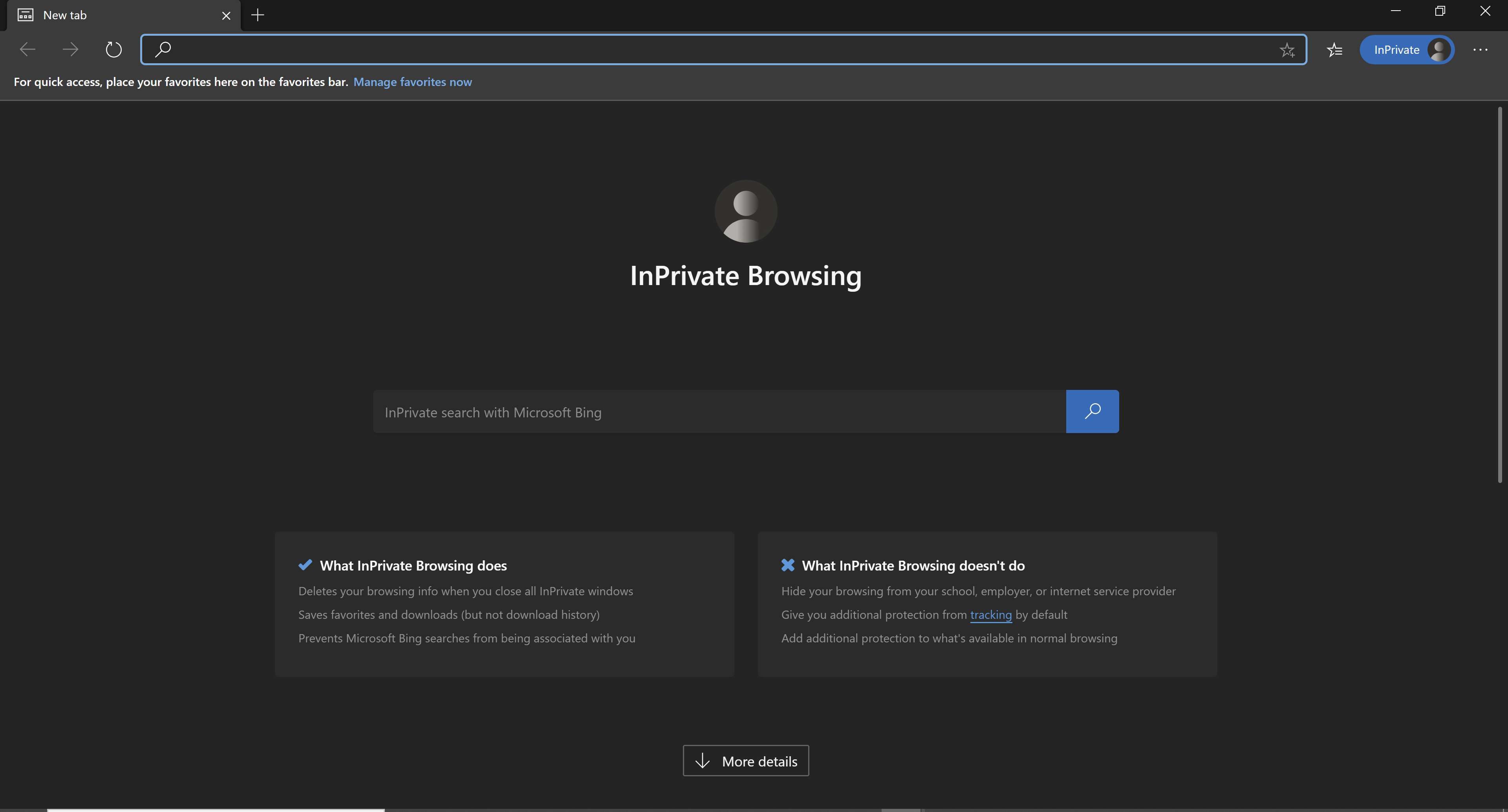 Using InPrivate Browsing in Microsoft Edge.