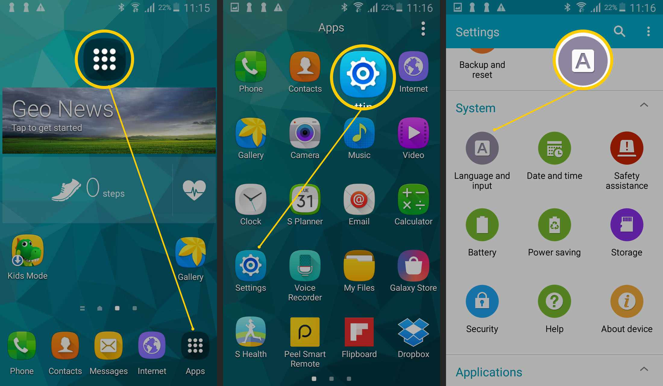 Samsung smartphone home screen and Settings screen