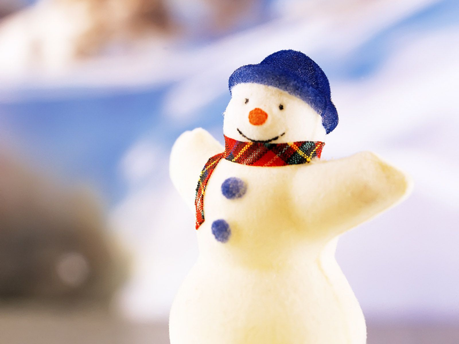 A Snowman With Blue Hat And Plaid Scarf