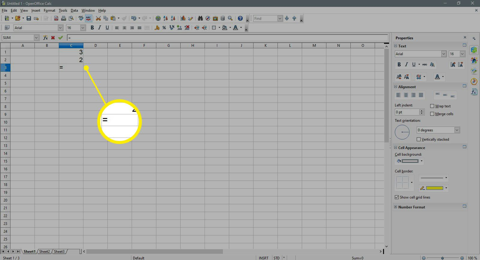 Entering the equal sign for a new formula in OpenOffice Calc.